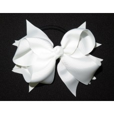 XL Grosgrain Bow Clip White