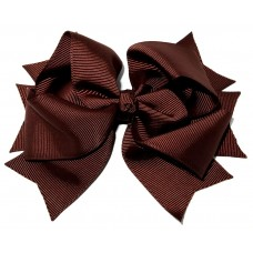 XL Grosgrain Bow Clip Brown