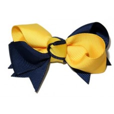 Spiky Bow Clip Navy Gold