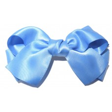 Large Satin Bow Clip Sky Blue