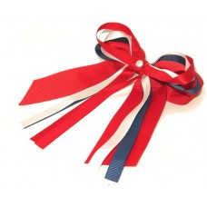 Layered Cheer Bow Navy Red White