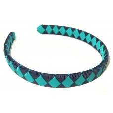 Diamond Check Hair Band Navy Mallard
