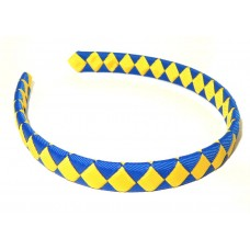 Diamond Check Hair Band Royal Blue Yellow