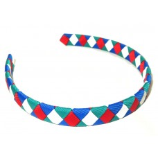 Diamond Check Hair Band Red Royal Mallard White