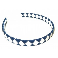 Diamond Check Hair Band Navy White