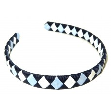 Diamond Check Hair Band Navy Sky White