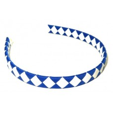 Diamond Check Hair Band Royal White