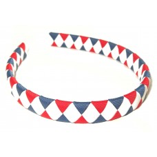 Diamond Check Hair Band Navy Red White