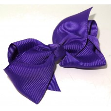 Med Grosgrain Bow Clip Purple