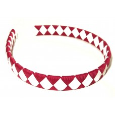 Diamond Check Hair Band Maroon White