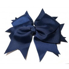 XL Grosgrain Bow Clip Navy Blue