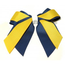 Mini Cheer Bow Navy Yellow