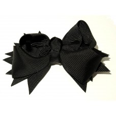 Spiky Bow Clip Black