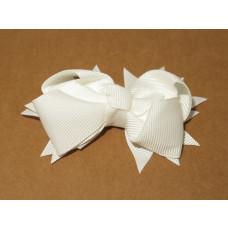 Spiky Bow Clip White
