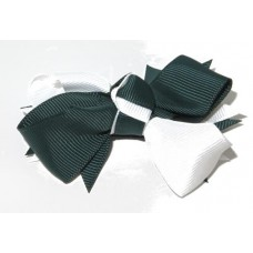 Spiky Bow Clip Green White