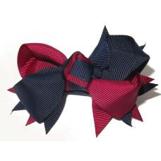 Spiky Clip Navy Maroon