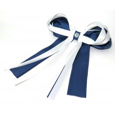 Layered Cheer Bow Navy White