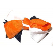 Spiky Bow Clip Navy Orange White