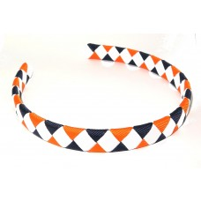 Diamond Check Hair Band Navy Orange White