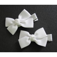Small Grosgrain Bows White