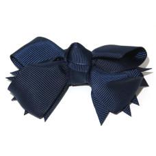 Spiky Bow Clip Navy Blue