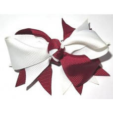 Spiky Clip Maroon White